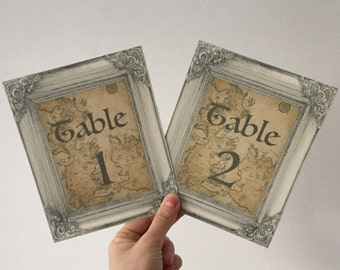 Game Of Thrones - Westeros Map - Wedding Table Number Cards - ornate Frame - wedding theme