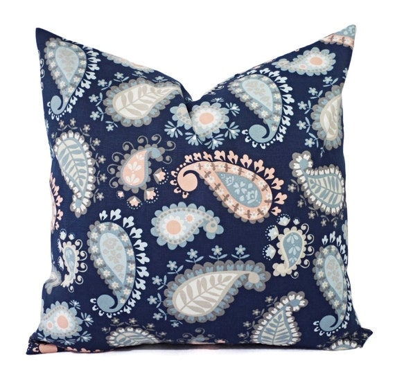 Items similar to CLEARANCE One Blue and Pink Pillow - One Decorative Pillow Cover - Paisley ...