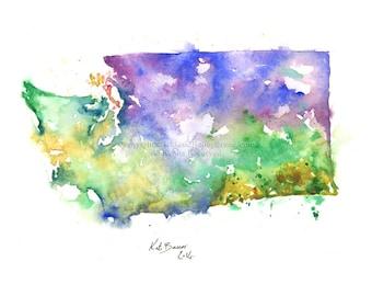 Washington State Map - Print of watercolor map