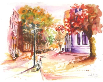 "City Leaves 8.5 x 11"" Print of original watercolor painting"