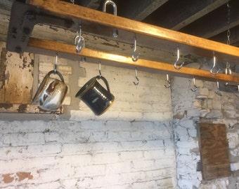 Vintage Stanchion Pot Rack
