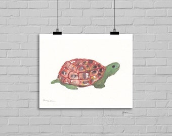 Clyde The Cute Tortoise Watercolor Painting Print