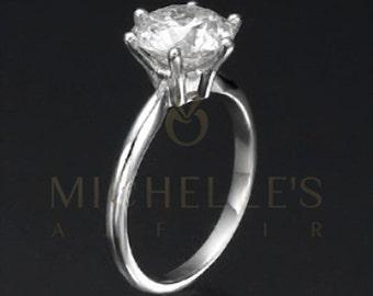 1.8 Carat Diamond Wedding Ring Women Round Cut Solitaire Ring D SI2 18 Karat White Gold Setting