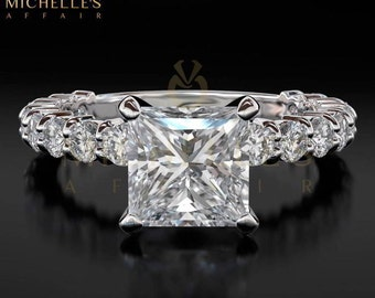 Diamond Engagement Ring F SI1 Princess Cut 2 ct Women White Gold Ring With Accent Diamonds Size 4 5 6 7 8