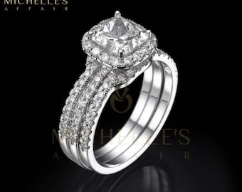 Cushion Cut Diamond Engagement Ring Half Eternity Wedding Band 2.35 Carat F VVS1 Women Marriage Rings In White Gold