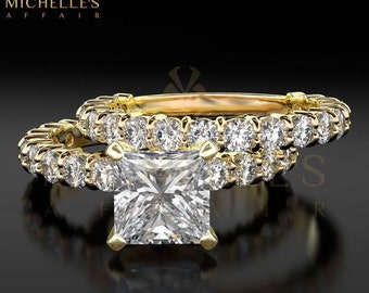 Women Diamond Rings Set 18K Yellow Gold 2.90 Carat F VS2 Princess Cut Engagement Ring And Half Eternity Wedding Band