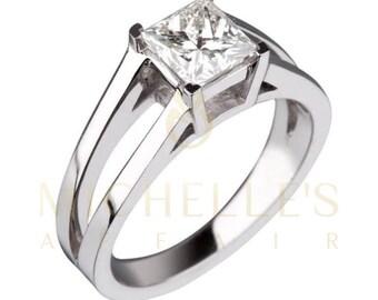 Diamond Engagement Ring 18K White Gold Women Princess Cut H VVS1 Certified 1.70 Carat Diamond Ring