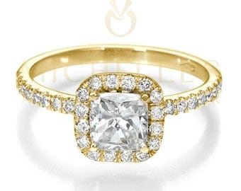 Cushion Cut Engagement Ring 2.00 Carat F VVS1 Diamond Women Yellow Gold  Setting With Side Accent Diamonds