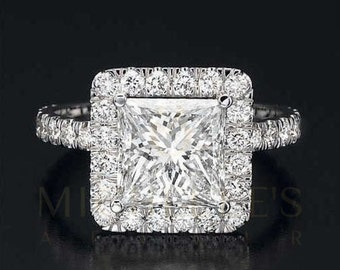 Halo Engagement Ring D VS1 Princess Cut Diamond Set In 14 Karat White Gold Setting For Women Size 4 5 6 7 8