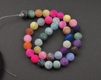 Rainbow Frosted Agate Beads, Matte Gemstone Beads, Round Beads 6mm 8mm 10mm 12mm 15'' Strand
