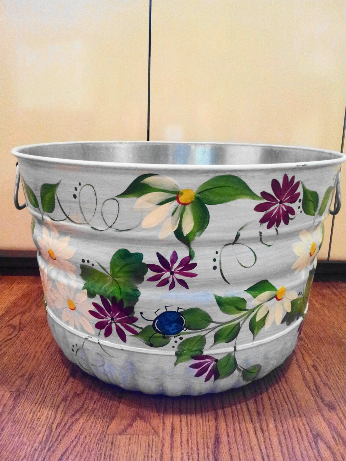 bushel hand painted galvanized tub