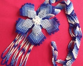Mexican Huichol Beaded flower Necklace