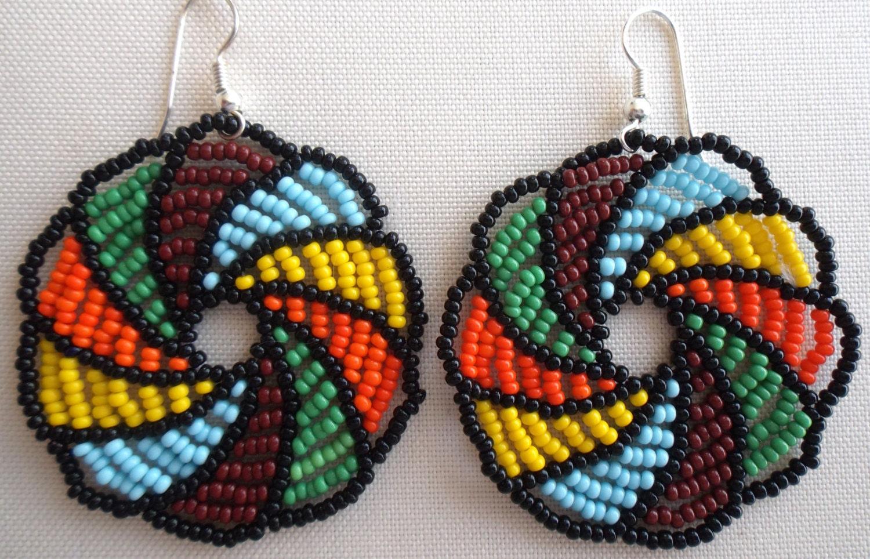 mexican huichol beaded flower earrings