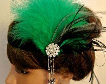 1920s Great Gatsby Headband Emerald Green Black  20's Headpiece  Flapper Headband Feather Headpiece Prom Headband Prom Headpiece