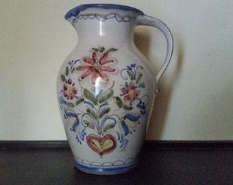 Vase Pitcher Berkshire Pottery Hand Painted Folk Art Vintage Large