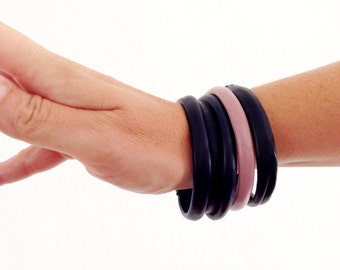 Navy & Blush Boho Leather Bangles