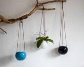 Ceramic hanging planter/ air planter/ succulent planter/ hanging flower pot/ turquoise blue pot/ ceramic flower pot