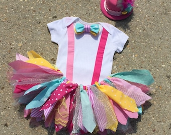 Vintage Circus outfit, Clown Outfit - ringmaster costume - shabby chic ringmaster tutu outfit, pink and turquoise circus birthday