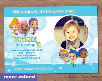Bubble Guppies Photo Birthday Invitation Digital Download