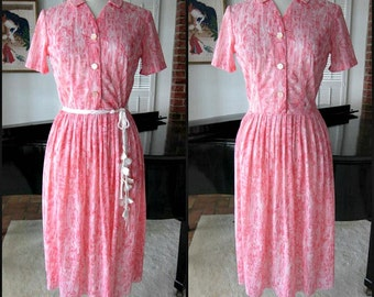PENNYPACKER 50s Dress / fits S / Vintage 50s pink dress / 50s shirtwaist dress / vintage pink shirtwaist dress