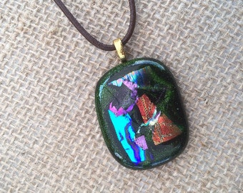Beautiful green dichroic pendant fused glass