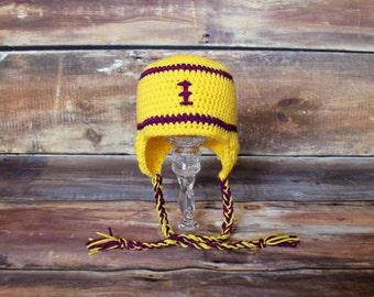 Yellow and Purple Knit Stocking Hat or Beanie - Newborn to Child - baby infant toddler football earflap cap LSU Tigers Minnesota Vikings