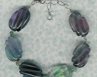 Bracelet - Fluorite, Moss Agate, Sterling Silver
