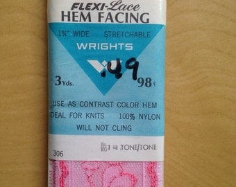 """Vintage Pink Lace WIDE 1960s Hem Facing Sewing Trim Wrights 2 Tone 1 3/4"""" 3 Yards"""