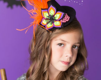 felt witch hat - witch hat for kids - childs witches hat - hat halloween - black witch hat - halloween party hats - tiny witch hat
