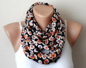 black daisy infinity scarf multicolor combed cotton scarf loop scarf circle fashion scarf unıque scarf birthday gift for her