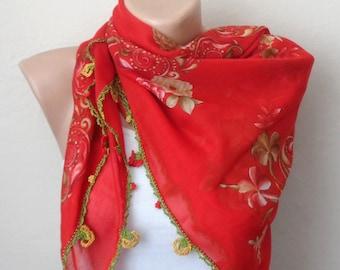 red scarf yellow  flower  green brown cotton turkish yemeni oya handmade