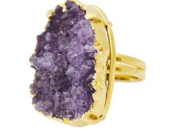 Druzy Quartz adjustable Ring (Purple or Green)