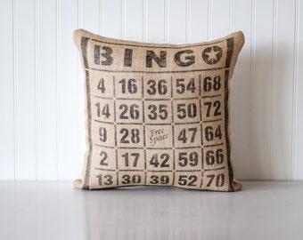 Decorative pillow, bingo pillow, farmhouse, home decor, home & living, bingo card, bingo, gift for him, man cave, vintage inspired, burlap