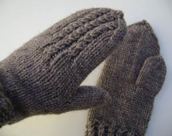 Taupe Hand Knit Mittens