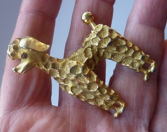 Very Sweet Little Vintage 1960s CORO Gold Tone POODLE Brooch or Pin