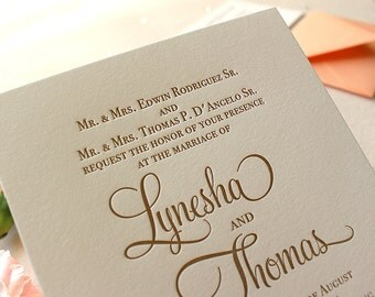 The Garden Rose Suite, Classic Letterpress Wedding Invitation, Gold, White, Formal,Traditional, Modern, Calligraphy, Script, Peach, Orange