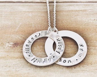 Double Washer Sterling Silver Necklace - mommy necklace wedding anniversary gift name necklace