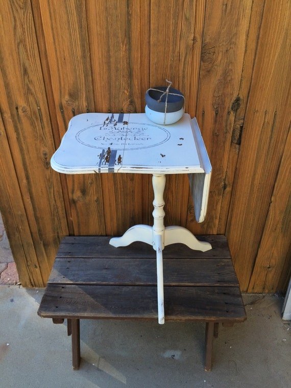 Upcycled Side Table / Small End Table / Grey And White Table