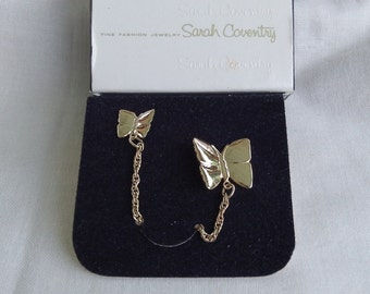 Sarah Coventry Butterfly Duo Pin 6004   Vintage, Golden, Pair