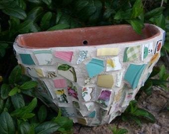 Mosaic Wall Pocket Mexican Pottery Clay Planter Vintage China Mosaic Broken Antique China
