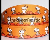 "5 yds 7/8"" Snoopy in the Great Pumpkin Patch Grosgrain Ribbon"