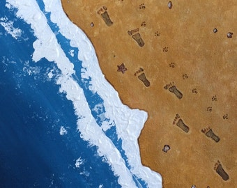 FootPrints in the Sand Acrylic Textured Painting