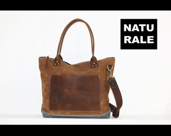 Waxed Canvas zippered tote bag - brown oiled leather accents - adjustable and detachable shoulder strap