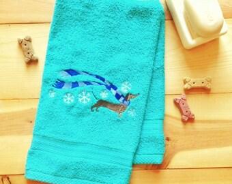Embroidered Winter Dachshund Towel~ Dachshund Towel~ Doxie Towel~ Dog Towel~ Weiner dog Towel~ Dachsund Bathroom~ Hand Bath or Towel Set