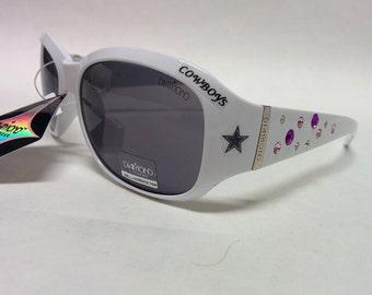 NEW! Women's Dallas Cowboys inspired Rhinestone Sunglasses. Medium to Slim fit! Classic White with Logo's!