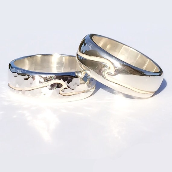 silver wedding band wave thick band made in