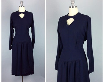 40s Navy Blue Crepe Dress / 1940s Vintage Wiggle Dress / Large / Size 12