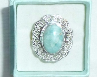 Genuine Larimar Sterling Silver Ring Oval Solitaire sz 9 Filigree Never Worn Artistic Gem marked 925 Dome Statement Big Large Raised