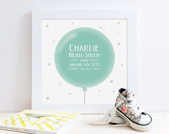 Balloon Birth Print Nursery Decor, Mint & Grey