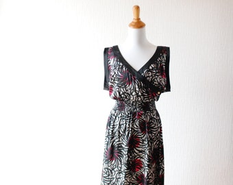 VINTAGE satin dress ~ Flower print dress ~ Black satin dress ~ Gray satin dress ~ Gray summer dress ~ Black summer dress ~ Black mini dress